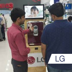 Digital standee interacting with customers